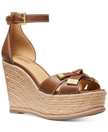 Michael Kors Ripley Wedge Sandals & Reviews - Sandals & Flip Flops - Shoes - Macy's brown