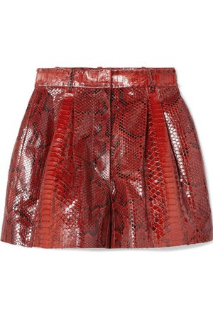 Alaïa | Pleated python shorts | NET-A-PORTER.COM