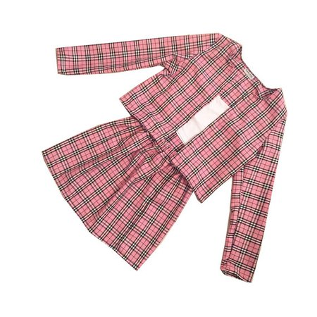 Pink Cher Tartan Plaid Two Piece Set Clueless Outfit Cher Clueless Womens Fashion Clothes Check Skater High Waist Skirt Co-ord Twin Set