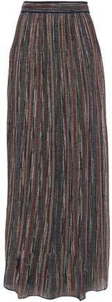 Ribbed Metallic Crochet-knit Maxi Skirt