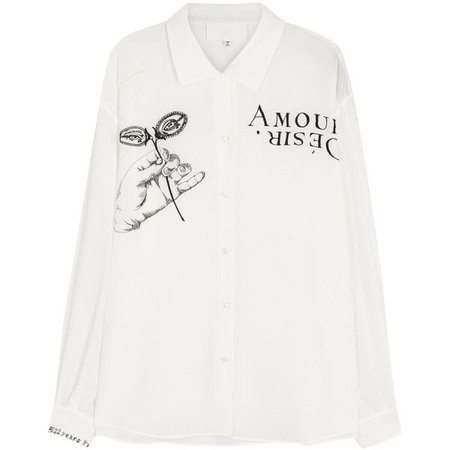 Maison Margiela Ivory Embroidered Silk Blouse
