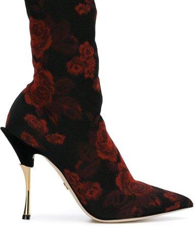 Rose Patterned Sock Boots