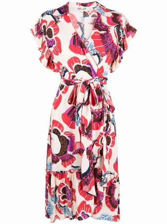Shop DVF Diane von Furstenberg floral-print wrap dress with Express Delivery - FARFETCH