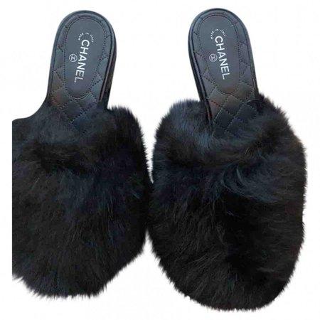 Black Faux fur Sandals