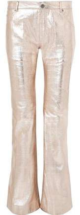 Metallic Textured-leather Bootcut Pants