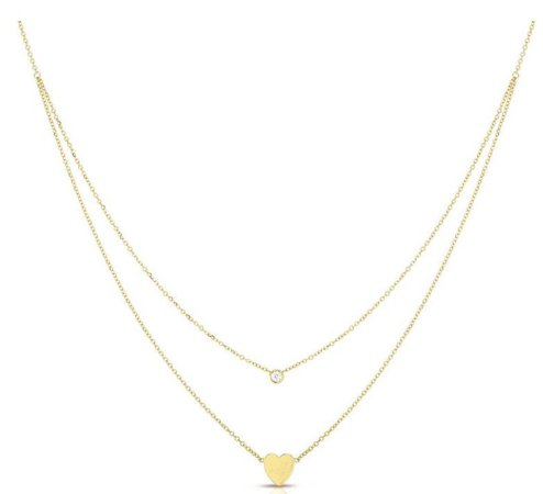 gold heart double necklace