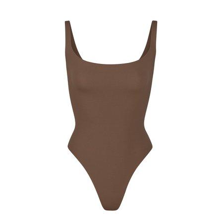 Fits Everybody Square Neck Bodysuit - Clay | SKIMS
