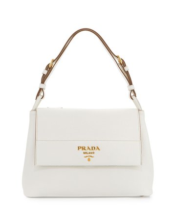 Prada Vitello Daino Shoulder Bag, White (Bianco)