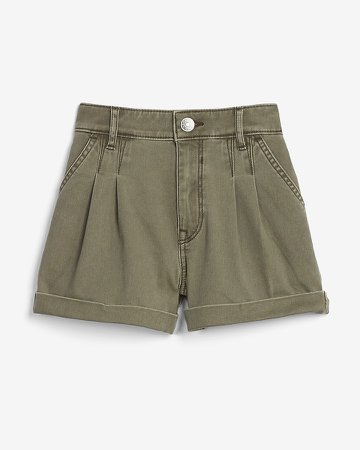 High Waisted Pleated Twill Shorts