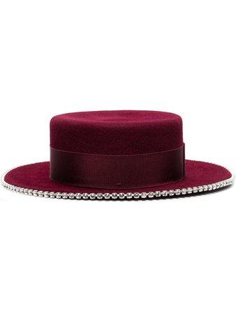 Shop red Ruslan Baginskiy crystal-embellished trim canotier hat with Express Delivery - Farfetch