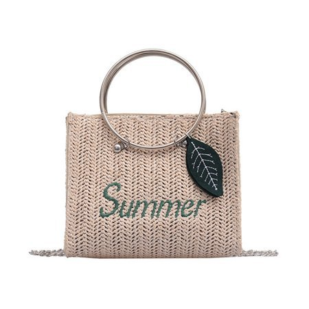 KABOER Summer New Straw Rattan Shoulder Bag Women Girl Leaves Pendant Round Ring Rattan Woven Chain Bag Summer Beach Bag - Walmart.com