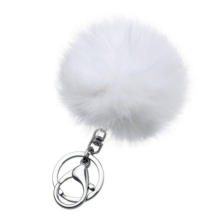 Fashion gift fur ball White Yellow key chain 14 colors 8CM ball fur keychain porta silver keychains couples jewelry-in Key Chains from Jewelry & Accessories on AliExpress