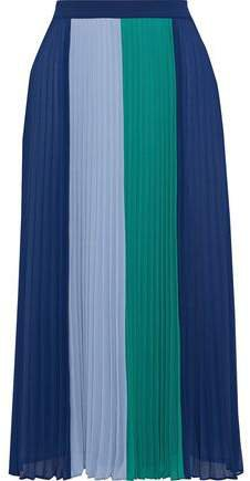 Clementine Pleated Color-block Crepe De Chine Midi Skirt