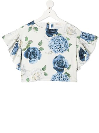Shop white & blue Monnalisa floral print cropped blouse with Express Delivery - Farfetch