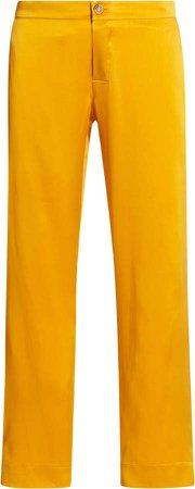 The Antibes Silk Satin Cropped Straight-Leg Trousers