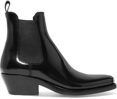 Claire Metal-trimmed Glossed-leather Ankle Boots - Black