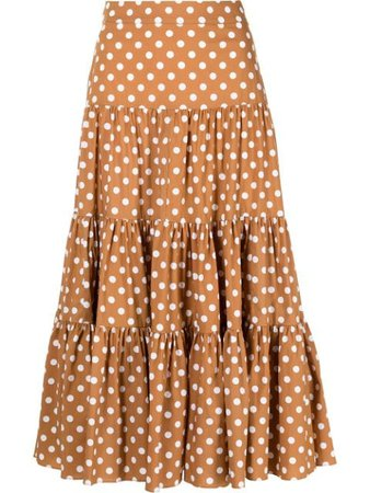 Caroline Constas ярусная юбка Peasant в горох - купить в интернет магазине в Москве | Цены, Фото.
