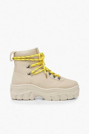 Lace Up Hiker Trainers   Boohoo