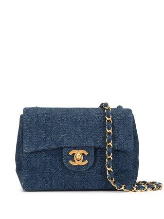 Chanel Pre-Owned 1990S Diamond Quilted Denim Shoulder Bag Vintage   Farfetch.Com