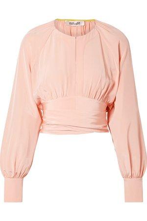 Diane von Furstenberg | Gathered cropped silk wrap blouse | NET-A-PORTER.COM