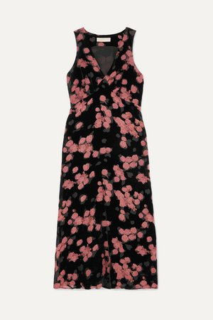 Floral-print Devore-chiffon Midi Dress - Black
