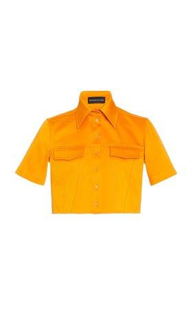 Cropped Cotton-Poplin Shirt by Brandon Maxwell | Moda Operandi