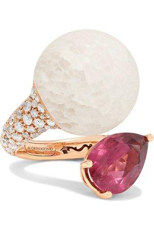 de GRISOGONO   Boule 18-karat rose gold multi-stone ring   NET-A-PORTER.COM