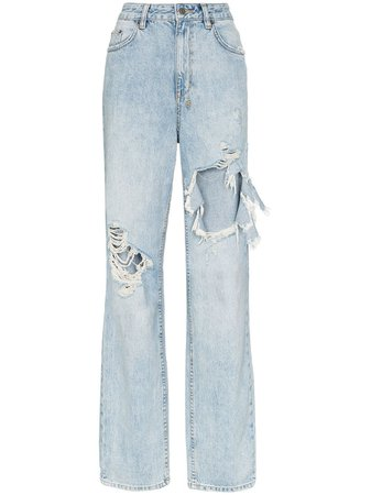Blue Ksubi Playback Distressed High-Waisted Jeans For Women | Farfetch.com