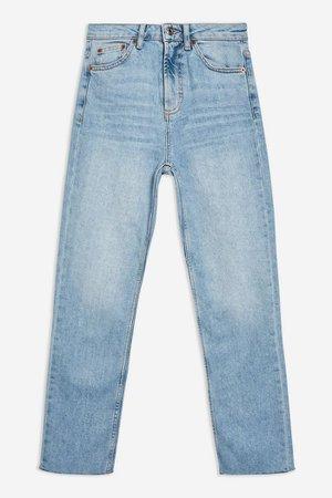 Bleach Raw Hem Straight Leg Jeans | Topshop