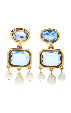 Crystal 14k Gold-Plated Earrings By Oscar De La Renta | Moda Operandi