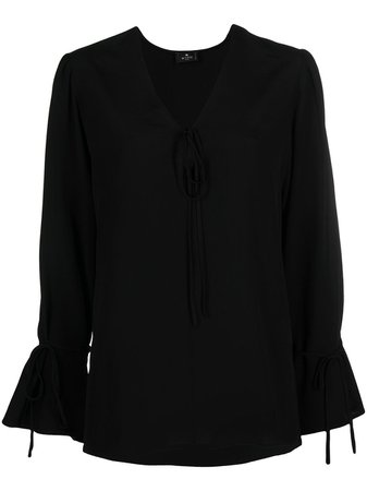 Shop black Etro long-sleeve silk blouse with Express Delivery - Farfetch