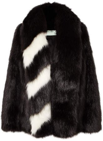 Oversized Striped Faux Fur Jacket - Black