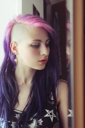 long shaved side purple hair - Google Search