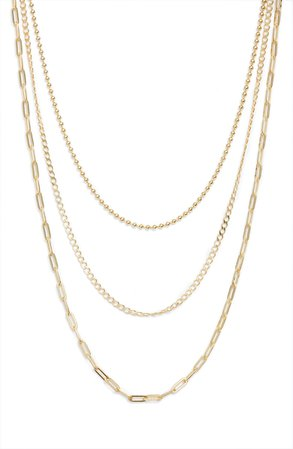 Argento Vivo Sterling Silver Three-Row Layered Chain Necklace | Nordstrom