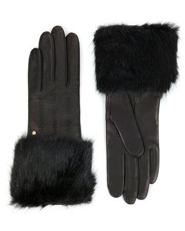 Faux fur trimmed gloves - Black | Gloves | Ted Baker