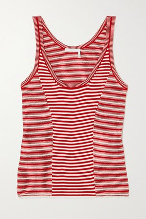 Striped Cotton Tank - Red