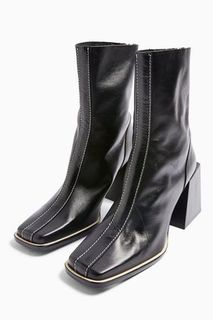 HADES Leather Black Boots | Topshop