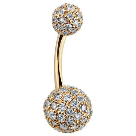 Diamond Pave 14k Gold Belly Button Ring – FreshTrends