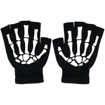 black skeleton gloves fingerless