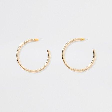 Gold colour hoop earrings | River Island