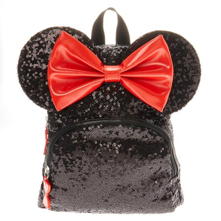 Disney© Minnie Mouse Sequinned Midi Backpack - Black   Claire's