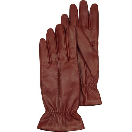 """Forzieri Burgundy Leather Women's Gloves w/Wool Lining S 