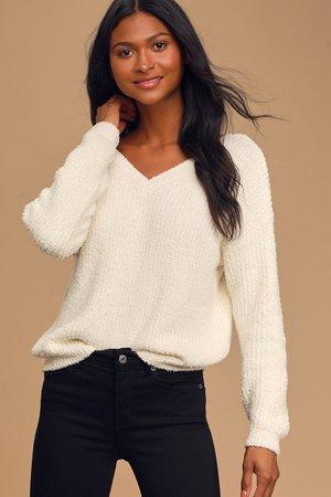 Cute Cream Sweater - V-neck Sweater - Soft Knit Sweater - Lulus