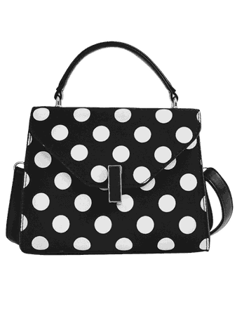 2018 Polka Dot Print Retro Flap Handbag With Strap In BLACK | ZAFUL