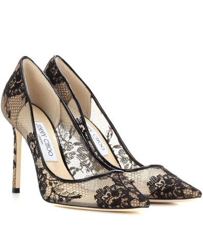 Jimmy Choo romy 85 black lace heels