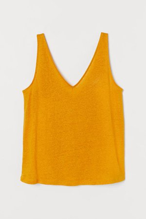 Linen Tank Top - Dark yellow - Ladies | H&M US
