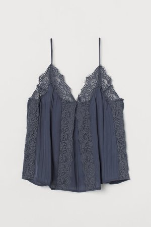 Camisole Top with Lace - Blue
