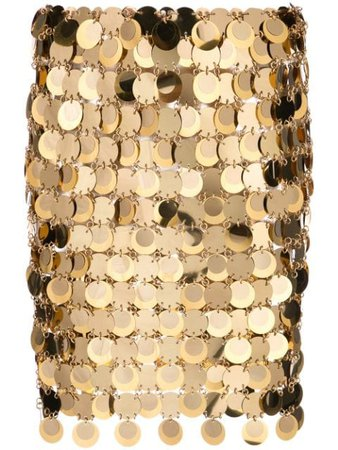 Paco Rabanne Sequin Mini Skirt 19AIJU010PS0133 Gold | Farfetch