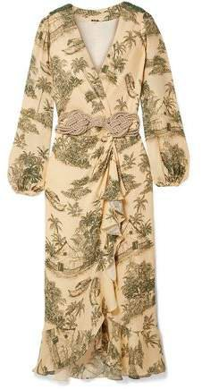 Al Son Del Tambor Embellished Printed Silk Crepe De Chine Midi Wrap Dress
