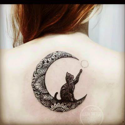 Tattoo uploaded by eloise | #moon #cat #blackwork | 24805 | Tattoodo